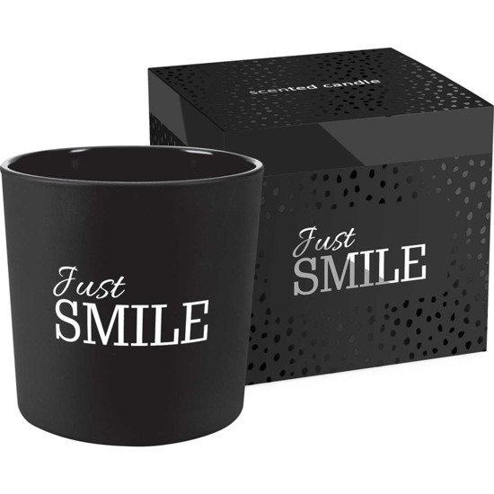 Bispol świeca zapachowa w szkle dwa knoty pudełko ~ 40 h - Just Smile