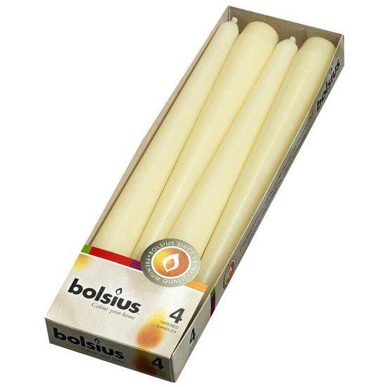 Bolsius Dinner Candle świeca szpica tradycyjna do świeczników 245/24 mm 4 szt - kremowy