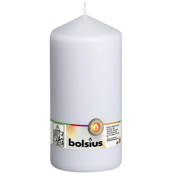 Bolsius świeca bryłowa pieńkowa słupek bezzapachowa 20cm 200/98 mm - Biały