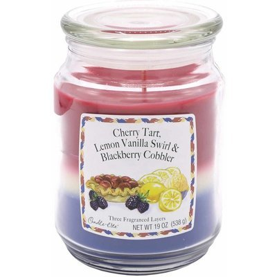 Candle-lite 3-Layer Collection Scented Glass Jar Candle 19 oz 538 g - Cherry Tart, Lemon Vanilla Swirl, Blackberry Cobbler