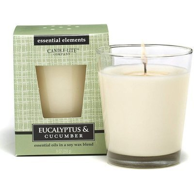 Candle-lite Essential Elements Natural Scented Candle Essential Oil 9 oz 255 g - Eucalyptus & Cucumber