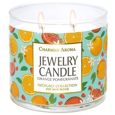 Charmed Aroma jewel soy scented candle with Necklace 12 oz 340 g - Orange Pomegranate