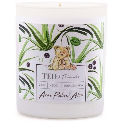 Ted & Friends scented soy candle in white glass 220 g - Acai Palm & Aloe
