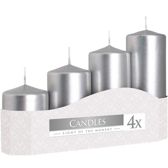 Bispol votive unscented solid candle set 4 pcs Advent - Silver metallic