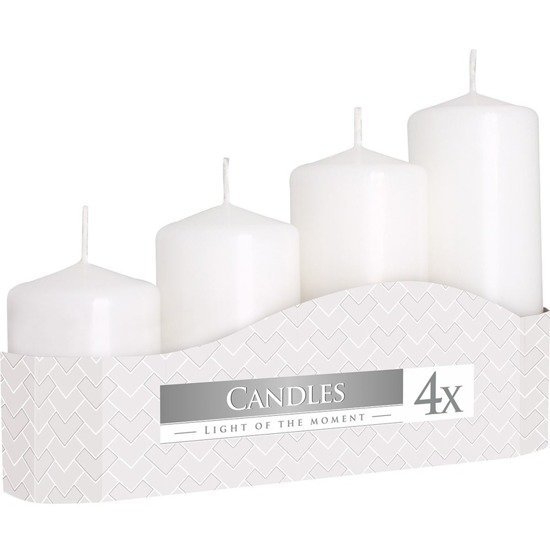 Bispol votive unscented solid candle set 4 pcs Advent - White